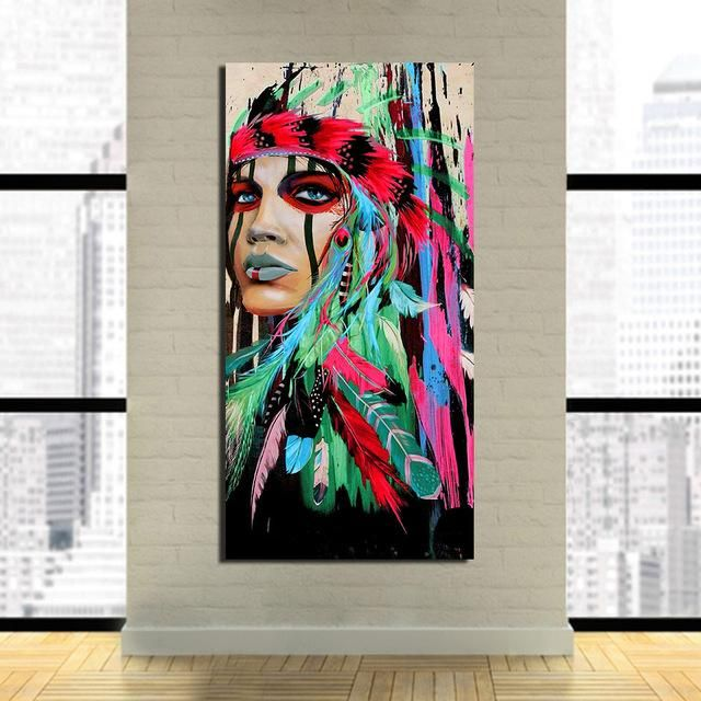 Vibrant Native American Canvas Art With Without Wooden Frame Indian Art Paintings Indian Wall Art American Indian Art