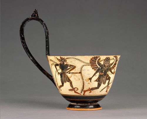 Ladle with Perseus Chasing Gorgons, about 510 - 500 B.C., Attributed to the Theseus Painter. J. Paul Getty Museum.