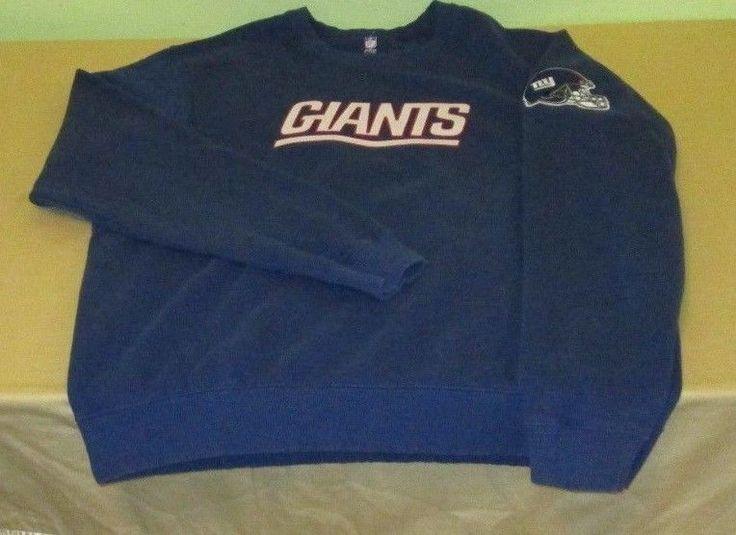 Vntg NEW YORK GIANTS NFL Sweatshirt Sz L Large - Blue - PROLINE - SEWN ON LOGOS…