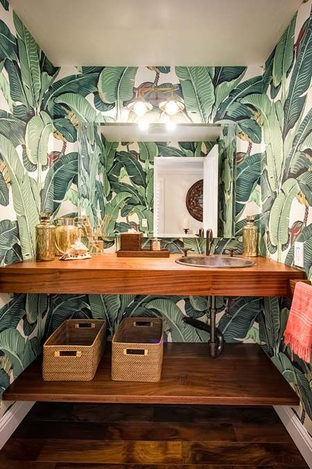 Tropical Banana Leaf Wallpaper Beautiful Green Hues All Over The Bathroom Making You Feel As If The Tropical Banana Trees Have Come Alive In Your Small