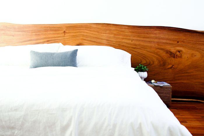 Natural wood headboard ikea platform bed fresh start for Bed slab