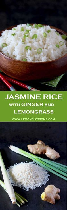 This Jasmine Rice is light, fluffy and aromatic. Infused with the warmth of ginger and the bright citrus flavors of lemongrass. The perfect accompaniment for Asian inspired dishes. Plus my secrets for making the perfect fluffiest rice! via @lmnblossoms