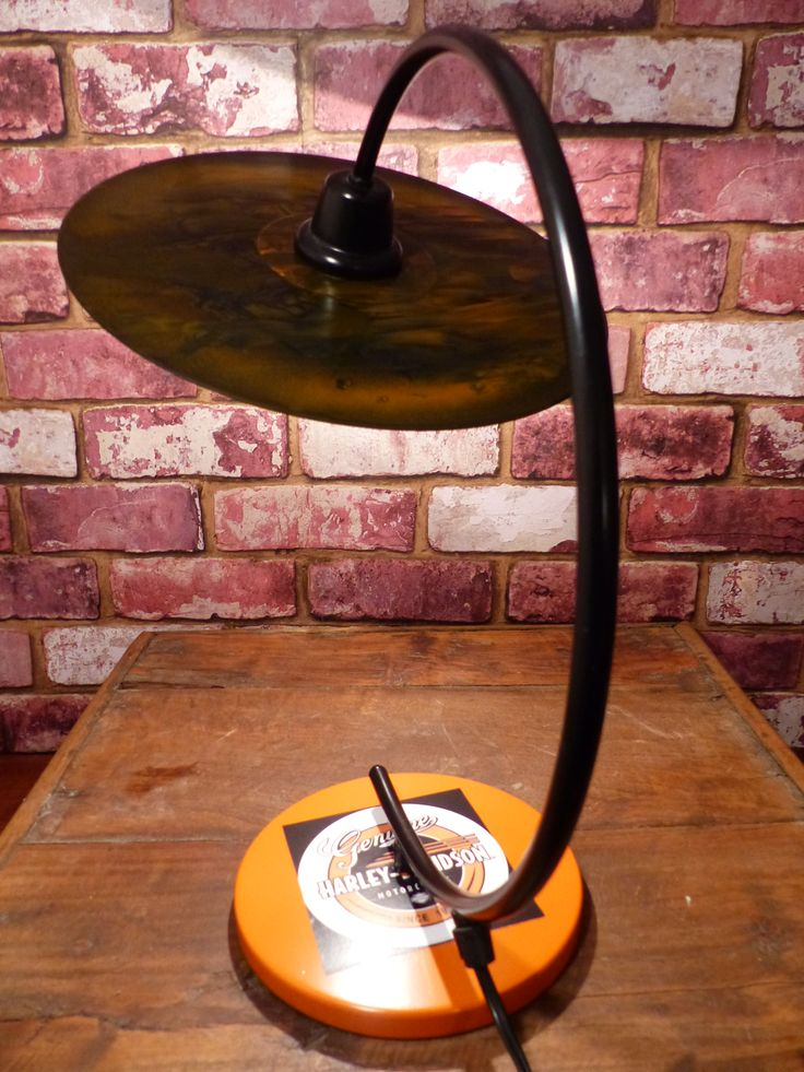 HARLEY DAVIDSON  LAMP   RESURRECTED 60'S RETRO LAMP, HARLEYIZED. IT HAS A LP RECORD SHADE, DONE WITH A CUSTOM PAINT.