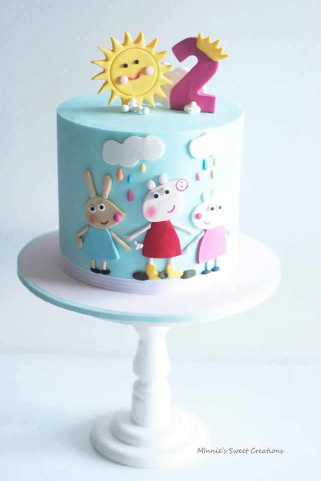 Peppa pig 2nd birthday party cake