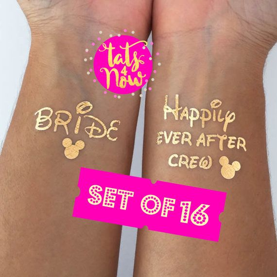 Happily every after crew bachelorette party tattoos bride