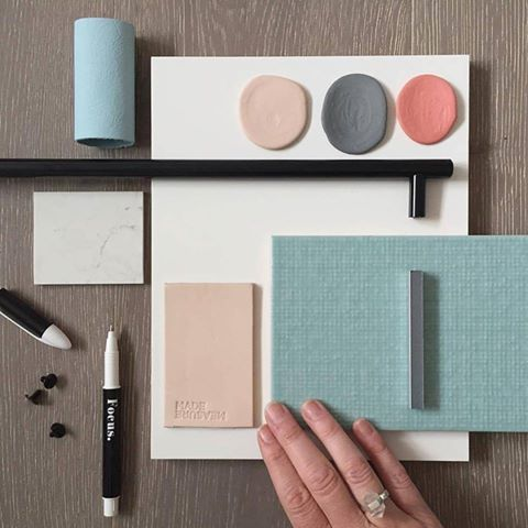 What a flatlay! Another beautiful moodboard by Petrina Turner Design featuring our Elmosoft leather in a beautiful palette of soft duck egg blues, warm grey, blush pink and bright peach coral.