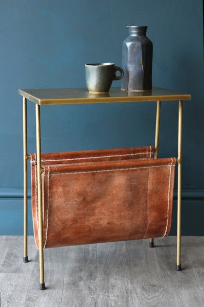 Gatsby Side Table with Leather Magazine Holder - Coffee & Side Tables - Furniture
