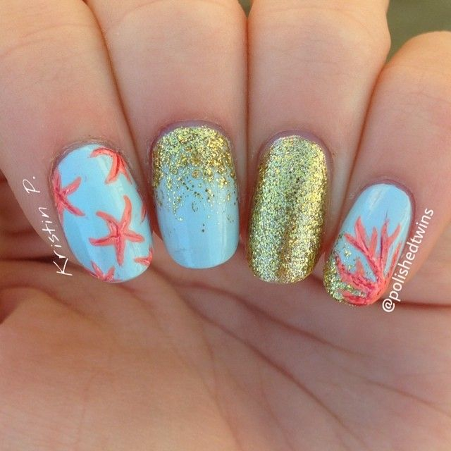 Star fish and coral reef nails  I did shading on the star fish instead of dots
