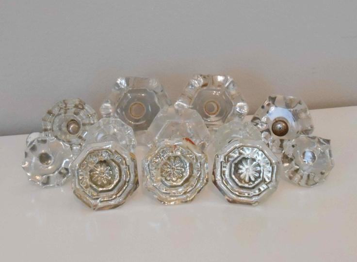 12 Assorted Vintage And Antique Glass Cabinet Drawer Knobs Antique Glass V
