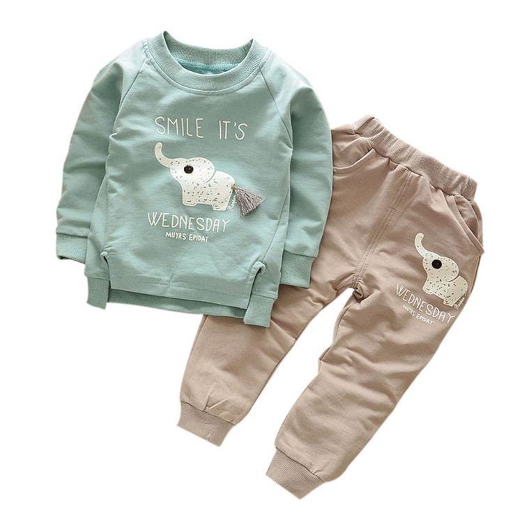 Foe Kids Clothes Autumn/Winter Baby Boys Girls Cartoon Elephant Cotton Set Children Clothing Sets Child T-Shirt+Pants Suit