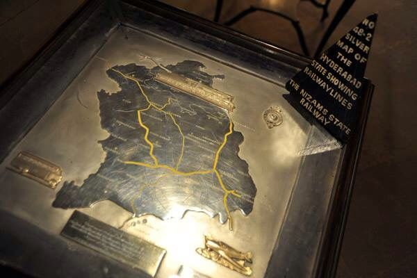 Silver map of Hyderabad state showing Nizams railway line