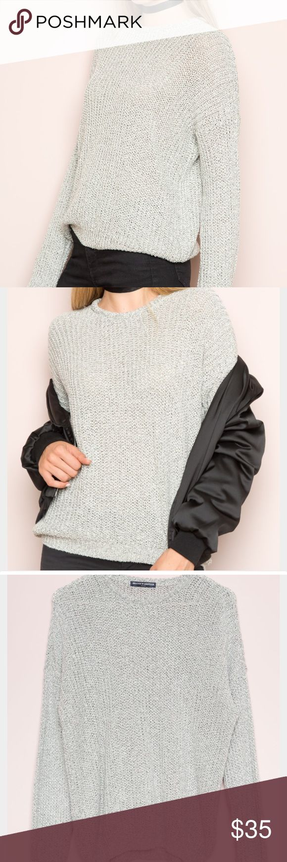Bronx Brandy Melville Sweater Super cute grey knit sweater, great quality and perfect for this season Brandy Melville Sweaters