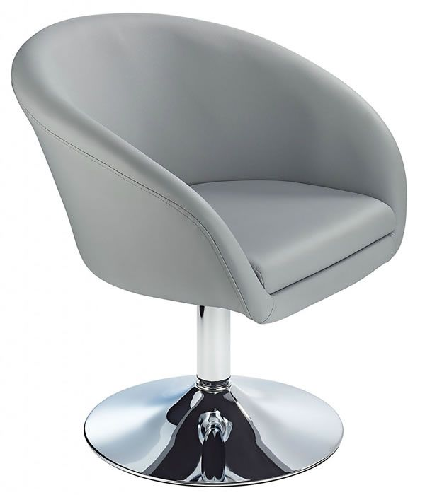 Leisure Tub Bucket Chair Grey Padded Seat Swivel Chrome Frame
