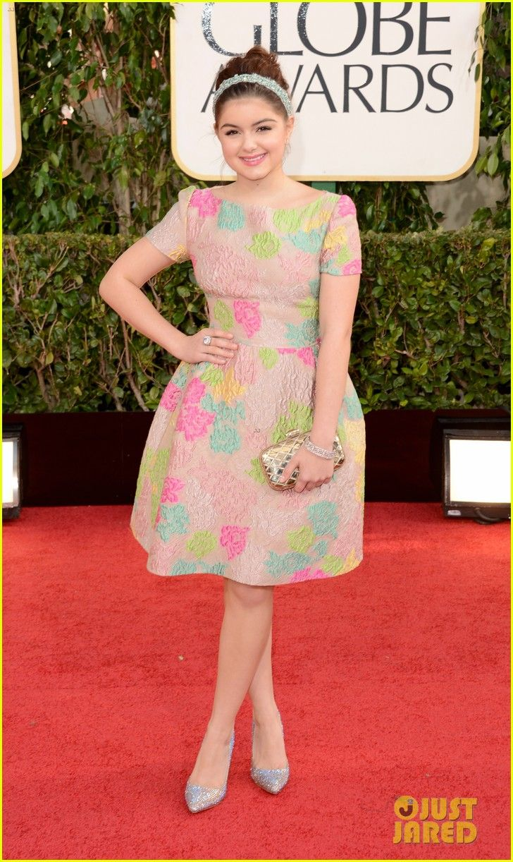 "Ariel Winter.    Golden Globes 2013.    ""Valentino dress with a Jimmy Choo clutch while accessorizing with a Jennifer Behr headpiece, an Open Hearts cuff, and a Sylva & Cie ring."""