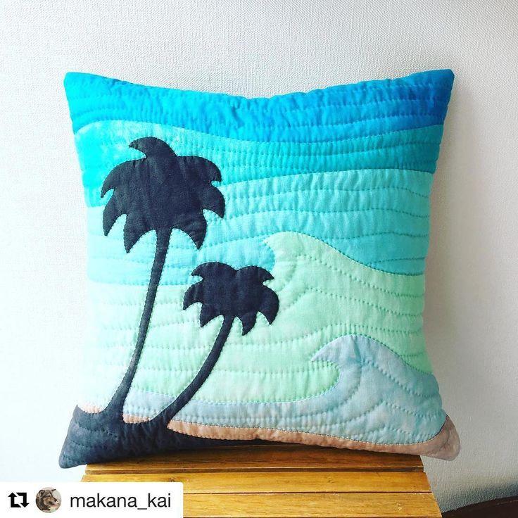 いいね!18件、コメント1件 ― Hawaiianquilt makanaさん(@makana_quilt)のInstagramアカウント: 「#makana #hawaiianquilt #pinetree #クッション」