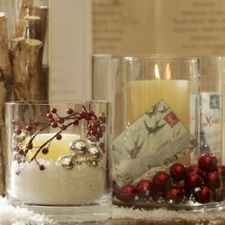 huge jars, fake snow with candles, balls, berries, etc. nestled in