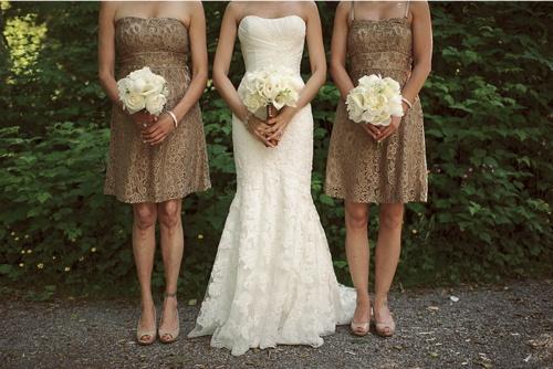 Sheath Wedding Dress and Bridesmaid Dresses