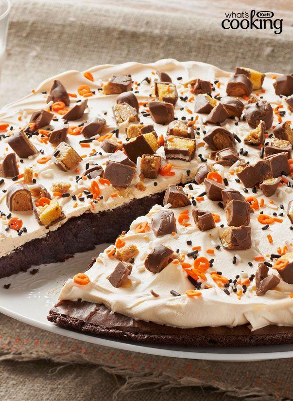 Bats & Bones Brownie Pizza #recipe