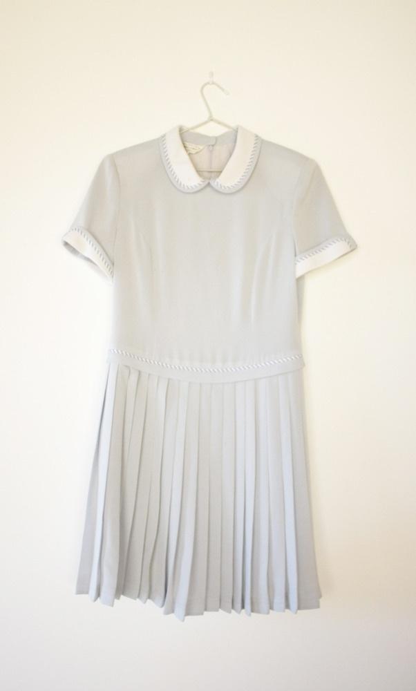white dress. peter pan collar.