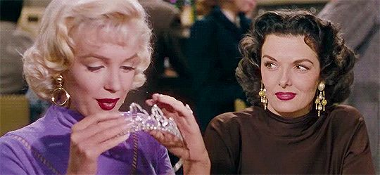 hennyproud:  Marilyn Monroe and Jane Russell in Gentlemen Prefer Blondes (1953) dir. Howard Hawks