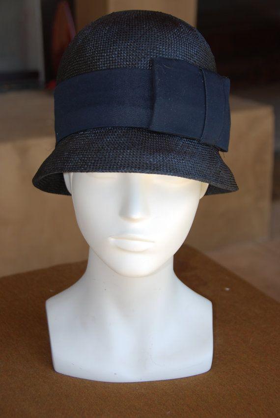 dark navy blue straw cloche with denim head band