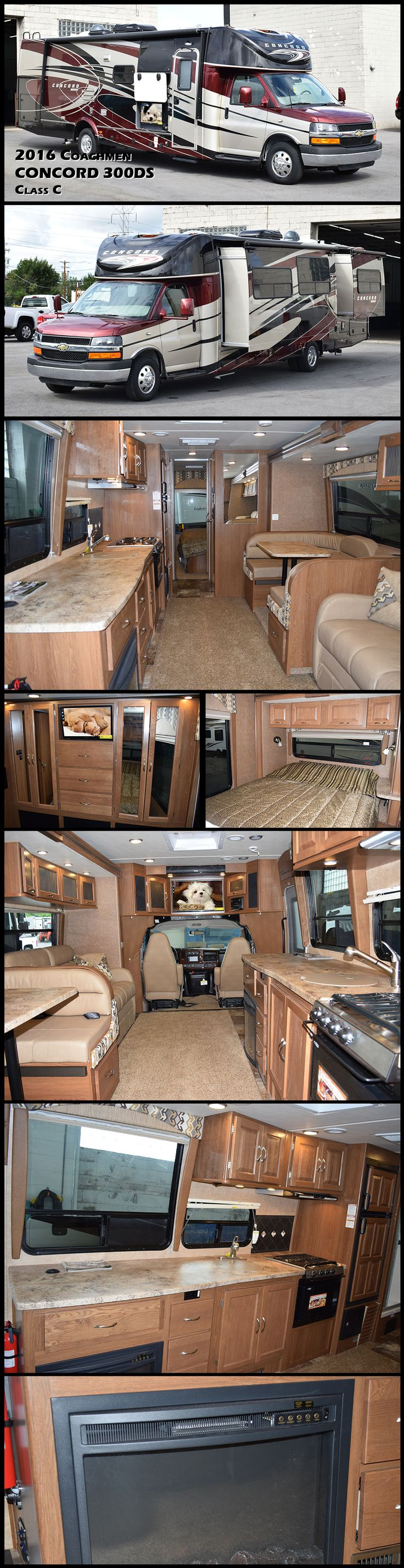 Hit the road with all the comforts of home in this 2016 COACHMEN CONCORD Class C Motorhome. Model 300DS offers double slides, a rear bedroom layout, and everything you need to enjoy your time away from home. Straight ahead when you enter notice the large slide out with sofa and u-shaped dinette. Both offer much seating space to enjoy a meal at, or to just relax and kick back after a fun filled day of adventure and exploring.
