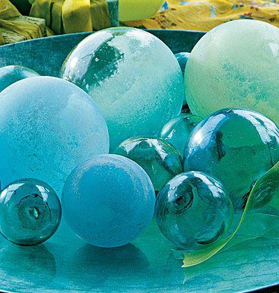 BLUE GLASS FISHING BALLS