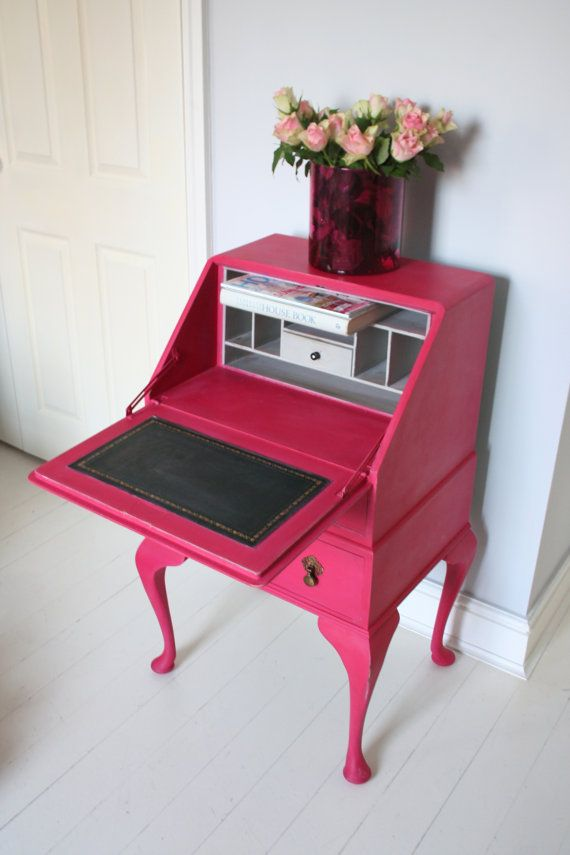 Vintage bureau painted in Pink and paris grey by FURNICHIC on Etsy, £255.00