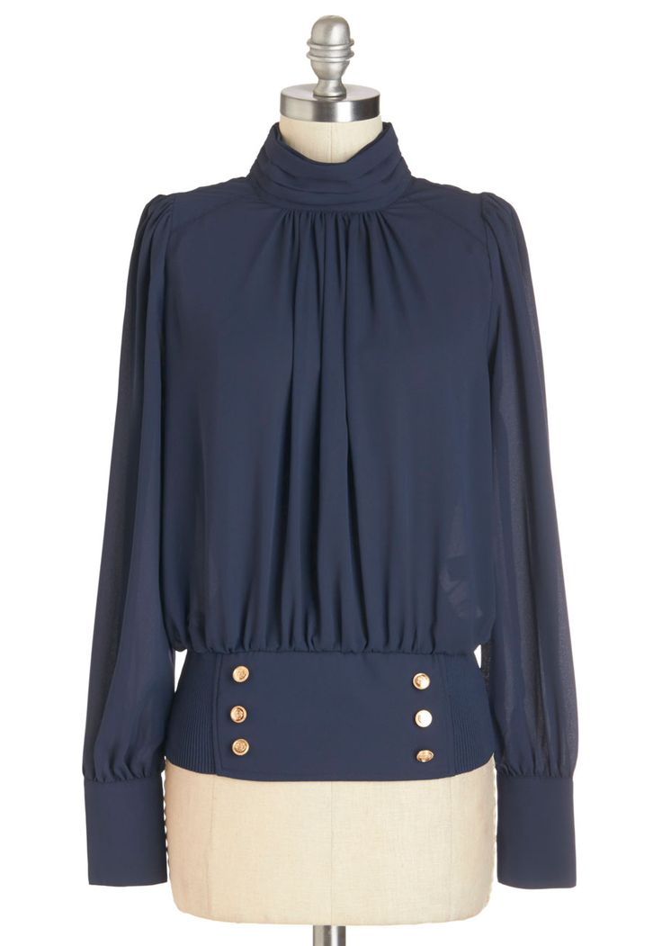 Picturesque At The Poetry Slam Top. As your poetry reading rolls out swiftly, you find yourself cool and calm in this navy blouse. #blue #modcloth