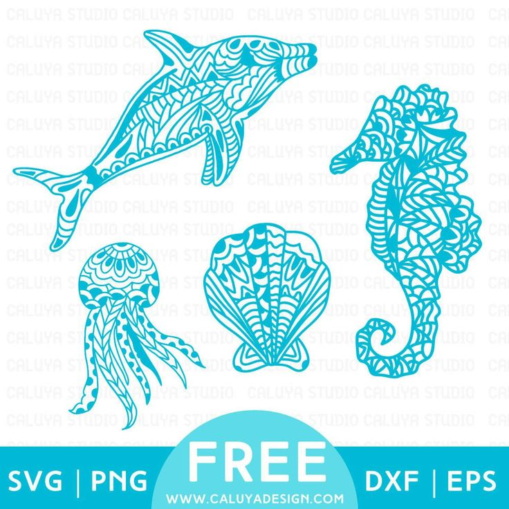 Free Svg Amp Png Link Zentangle Sea Animals Cut Files Svg