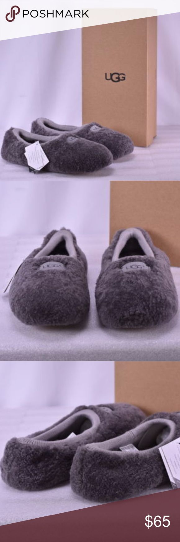 NWT UGG® Women's Birche Sheepskin Slippers, Gray New in box.  Snug, sock-like slippers by UGG® hug your feet with the doubled warmth of genuine sheepskin and plush UGGpure™ wool. Fits true to size. Round toe; slip on Curly UGGpure™ wool lining Real sheepskin fur; origin: Australia, USA or UK; dyed Genuine sheepskin, textile and leather upper, textile lining, leather sole. UGG Shoes Slippers