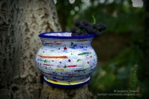 lively colored pencil holder - hand painted clay pots