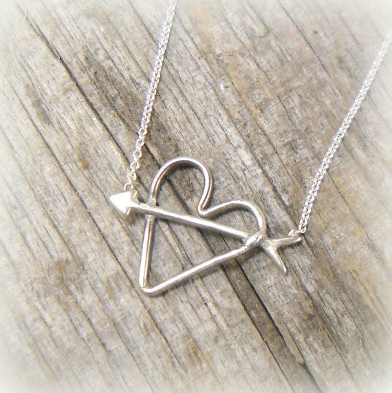 Arrow thru Heart Sterling Silver, Valentine Necklace, First Love, Young Love, Sterling, True Love, Cute, Gift for Her, Teen Girl on Etsy, $42.00