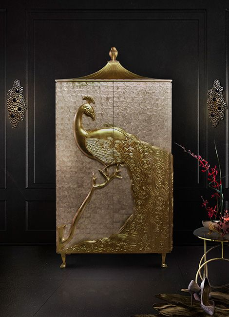 fashion furniture, sexy furniture, brass chandeliers, luxury upholstery, gold ribbon, Swarovski crystals, fashion design, high-end casegoods, exotic armoire, new York furniture