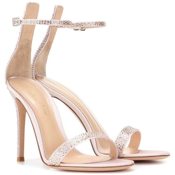 Gianvito Rossi Portofino Embellished Satin Sandals ($1,780) ❤ liked on Polyvore featuring shoes, sandals, heels, pink, pink shoes, gianvito rossi, pink sandals, decorating shoes and pink heeled sandals