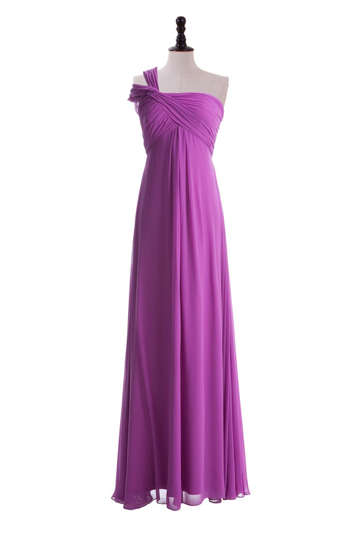 One Shoulder Empire Chiffon Dress