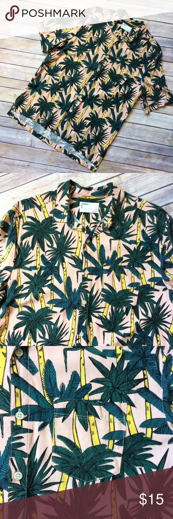 Urban Outfitters Hawaiian Shirt Palm Trees Men's palm tree print Hawaiian shirt. Made of 💯 rayon like the original Hawaiian shirts. From Urban Outfitters- Your Neighbors brand. New without tags Urban Outfitters Shirts Casual Button Down Shirts