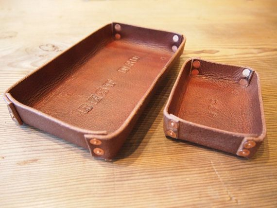 Oiled Leather Catch All Tray Personalized Stamping Letter