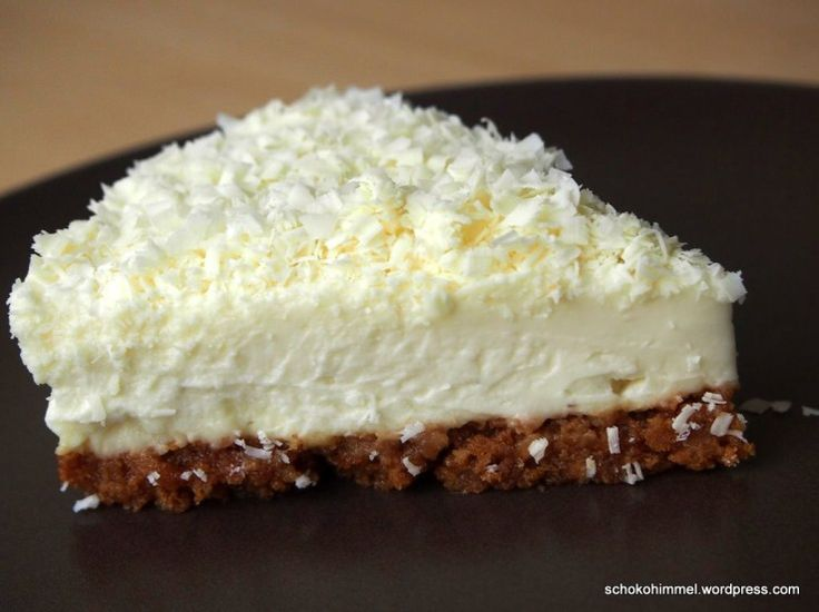 White Chocolate Cheesecake mit Keksboden