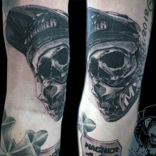 Skull Tragen Motocross Helm Jungs Arm Tattoo