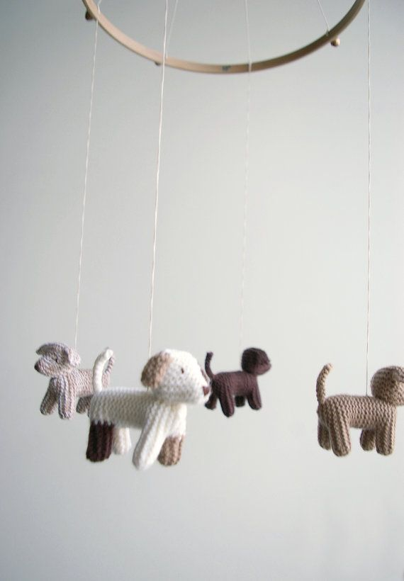 Baby crib mobile  dogs mobile  FLYING PUPPIES baby by Patricija, $119.00