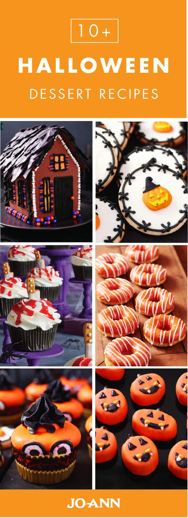 Talk about creative entertaining inspiration! This collection of 10+ Halloween Dessert recipes from Jo-Ann features everything from spooky gingerbread houses and creative cupcakes to traditional pumpkin pies and delicious fall donuts—giving you plenty of ideas for your fall party.