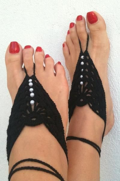 Crochet Mix Color Barefoot Sandals, Nude Shoes, Foot Jewelry, Anklet , Bellydance, Beach Pool
