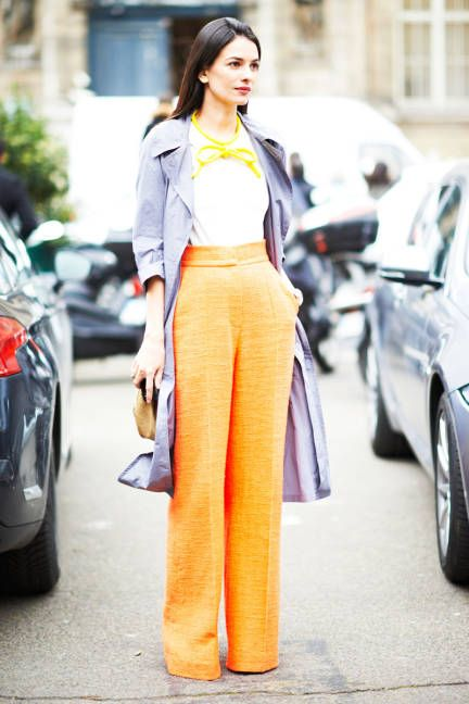 Wide-leg trousers make a splash in bold, unexpected orange #streetstyle