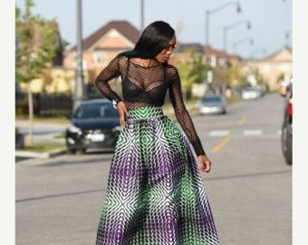 SALE Royal African print Maxi Skirt. by RAHYMA on Etsy