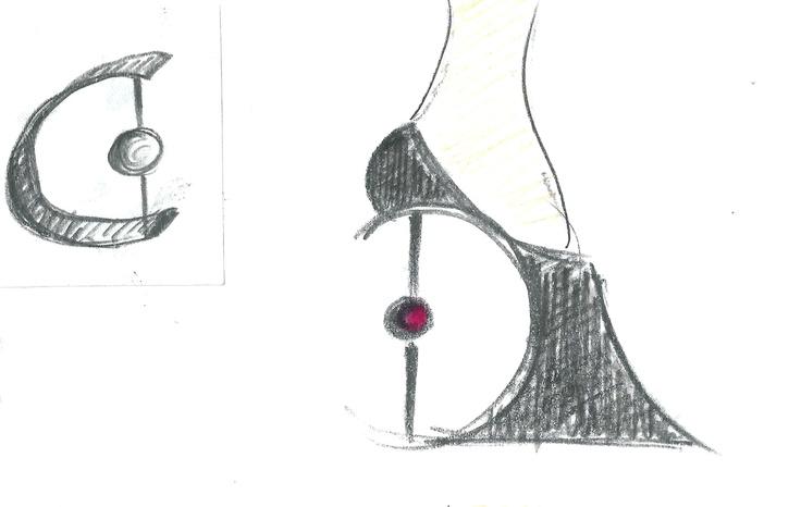 Heel Jewel Shoe drawing by Alessia Semeraro / London Architecture inspiration //