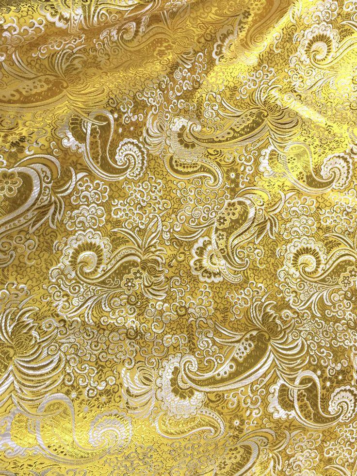FOR HEADSCARF ME & HER YELLOW GOLD METALLIC PERSIAN PAISLEY BROCADE FABRIC BRIDESMAID DRESS DRAPE