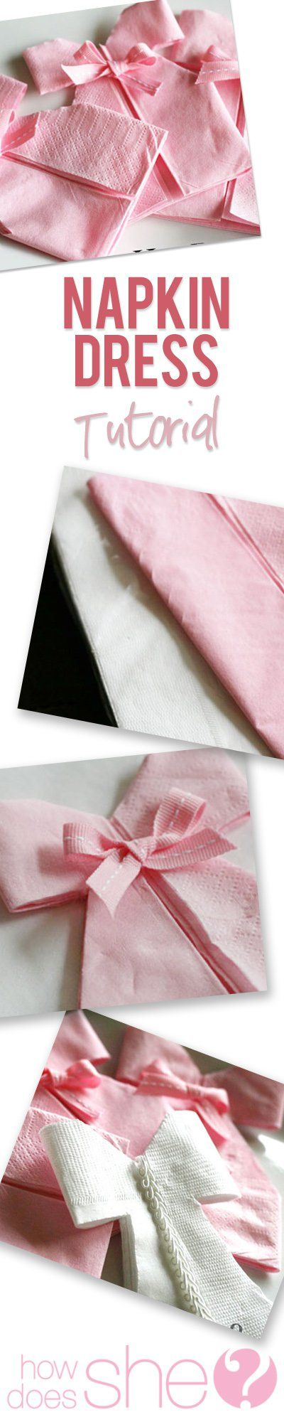 Easy folded napkins created into a dress. Perfect for a baby shower of bridal shower. Easy to make napkin dress!