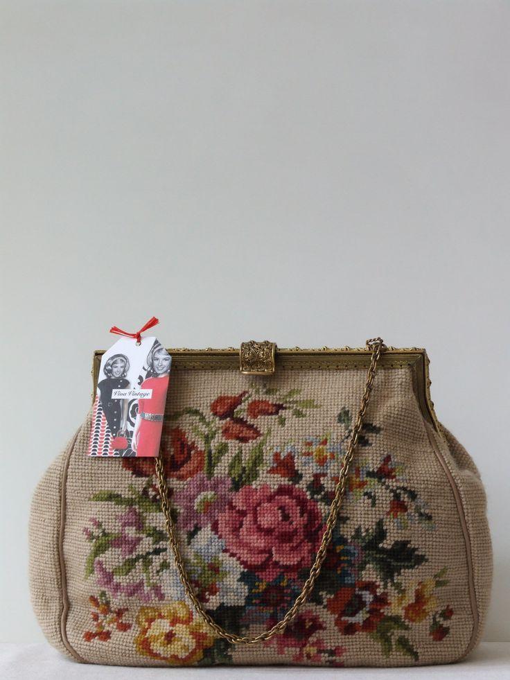 Vintage 50's geborduurde bloemen tapijt handtas - Tassen & portemonnees - Alle vintage