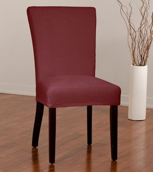 Montgomery II Merlot Dining Chair Slipcover. Deeply embossed box pattern with a soft luscious surface, form fit slip cover upholstery, dining room, beautiful interior design, chic home decor